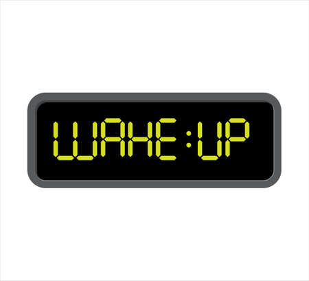 square digital clock showing text wake up vector icon editable design template
