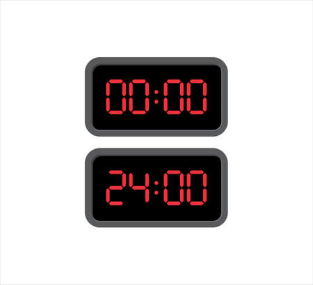 square digital clock showing time at twenty four and zero o'clock vector icon design template