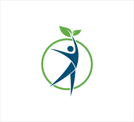 abstract people jumping inside a circle with leaf vector icon design template for wellness treatment, yoga beauty center, and green organic dietary logo