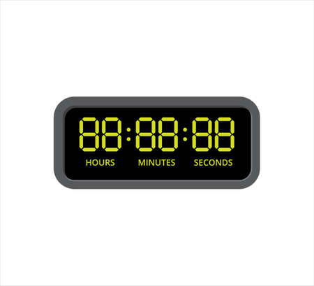 square digital clock with yellow number in hours, minutes and seconds template vector icon design