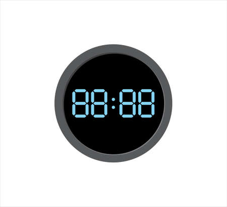 round digital clock with yellow number template vector icon editable design
