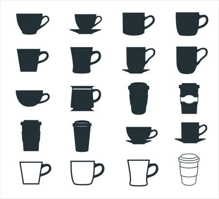 simple flat coffee cup, mug, and paper cup vector icon logo symbol design set template for coffee shop store