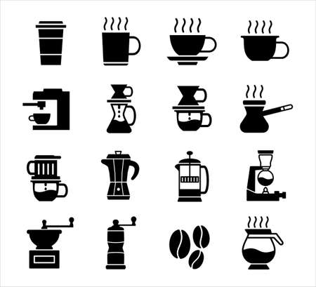 coffee making method vector icon logo design template set, coffee maker shop store icon in outline style