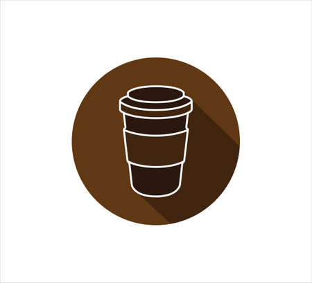 coffee paper cup vector icon logo design template, brown color button sign