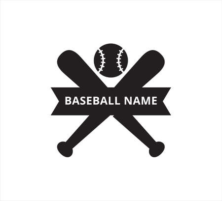 crossed baseball bat ribbon banner name vector icon logo design template for sticker and print cutting Illusztráció