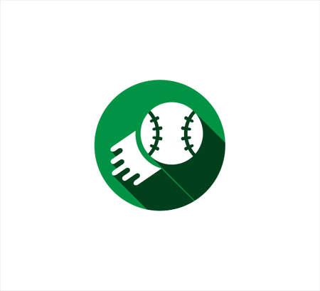 green round baseball vector icon logo design template for mobile application or website button