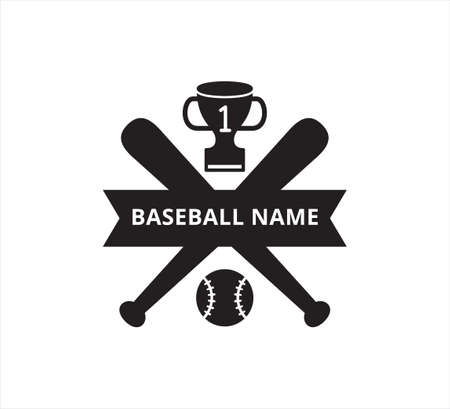 crossed baseball bat with number one trophy ribbon banner vector icon logo design template for sticker and print cutting Illusztráció
