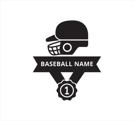 baseball helmet with number one medal ribbon banner vector icon logo design template for sticker and print cutting