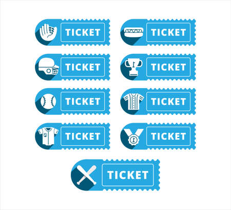 baseball sport theme ticket vector icon logo design template for mobile application or website button Ilustrace