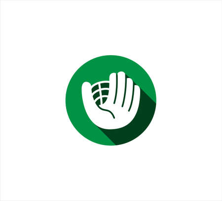 green hand glove baseball with net vector icon logo design template for mobile application or website button