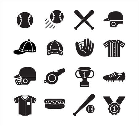 black simple flat baseball vector icon logo design template set for mobile application or website button