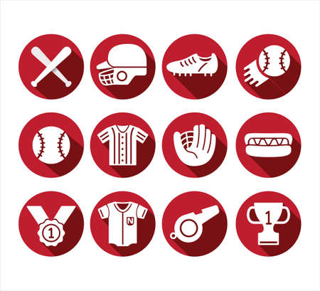 red round simple flat baseball vector icon logo design template set for mobile application or website button