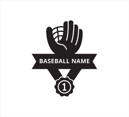 baseball glove with number one medal ribbon banner vector icon logo design template for sticker and print cutting