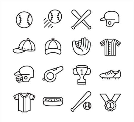 simple outline style baseball vector icon logo design set template for mobile application or website button Ilustrace