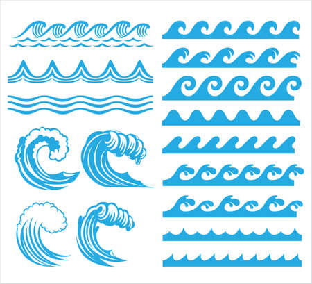 rolling ocean sea wave stream line pattern vector graphic design set template