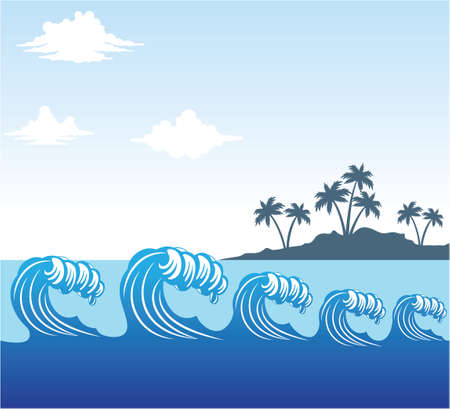rolling blue ocean sea wave scene with coconut tree island in distance with cloudy sky vector background illustration