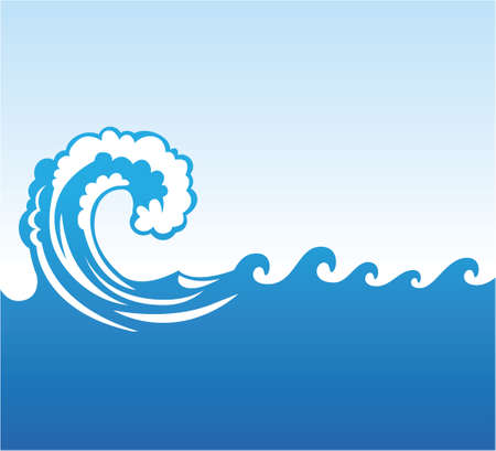 a big blue sea wave rolling in the ocean with clear blue sky vector background illustration
