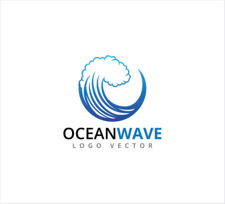 big blue rolling ocean wave in circle form vector design template