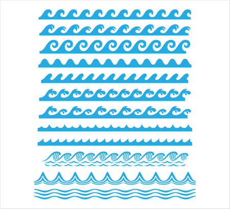 rolling ocean sea wave stream line seamless pattern vector graphic design set template