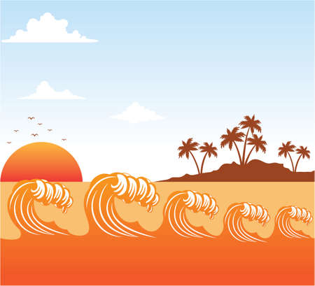 rolling ocean sea wave scene at orange color sunset with coconut tree island in distance with cloudy sky vector background illustration