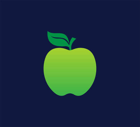 sweet green yellowish apple fruit vector design template on dark blue background