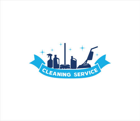 picture of vacuum cleaner, mop, and sprayer bottle with ribbon banner vector design template for housekeeping and cleaning service Illusztráció