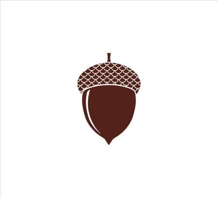 single brown acorn nut oak fruit vector design template symbol of fertility Banco de Imagens - 151702375