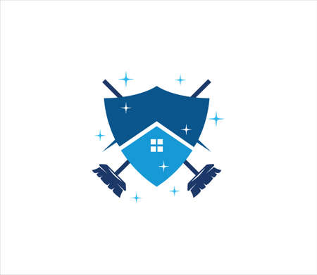 abstract house inside shield with crossed mop vector design template for housekeeping and cleaning service