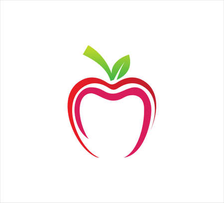 sweet red apple fruit outline style vector  design template Ilustrace