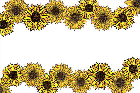 yellow sun flower vector background with empty space in the middle template Illusztráció