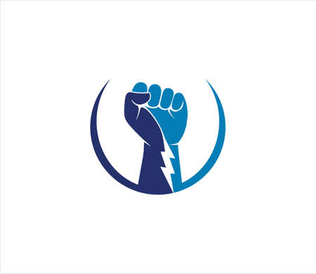 rising hand fist the symbol of power determination and strong freedom vector logo design template