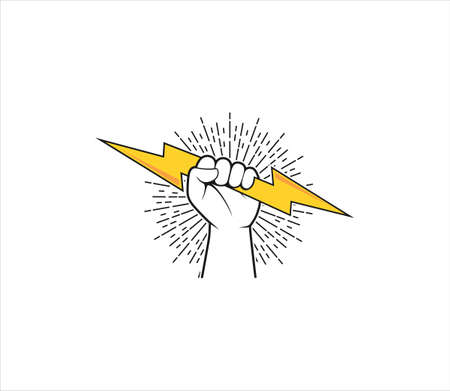 rising hand fist holding flash thunder the symbol of power determination and strong freedom vector logo design template