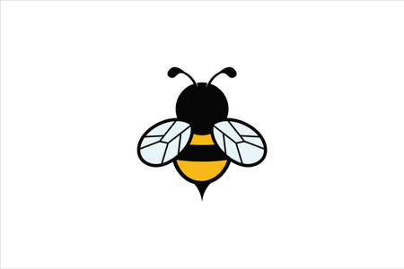 simple cute funny honey bee vector logo design template