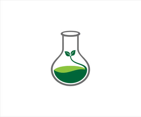 chemical glass with plant sprout from green liquid for agriculture laboratory vector logo design template Banco de Imagens - 152240197