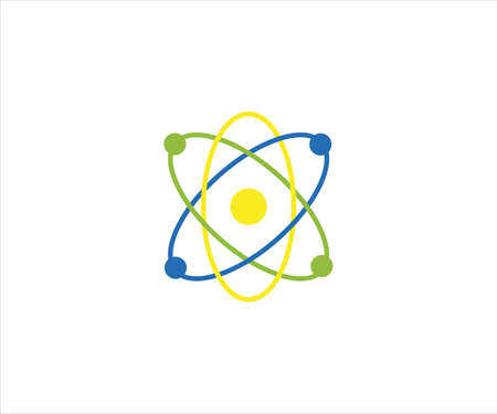 atom with electron trajectory for science physic technology laboratory vector logo design template Ilustração