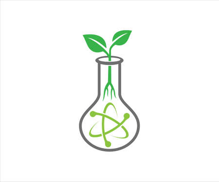 chemical glass with atom electron trajectory inside and plant sprout for agriculture biotechnology laboratory vector logo design template Ilustração