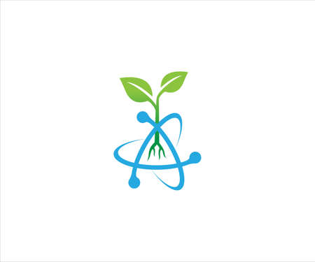a plant sprout from atom nucleus with its electron trajectory for biology agriculture technology laboratory vector logo design template