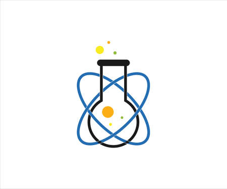 chemical glass with atom trajectory for science laboratory vector logo design template