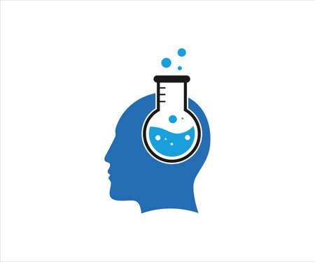 chemical glass inside human head for chemist technology laboratory vector logo design template Banco de Imagens - 152240202