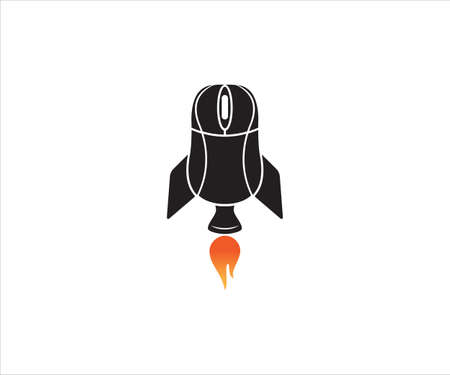 black mouse computer device with tail wing and rocket booster for gaming vector logo design template
