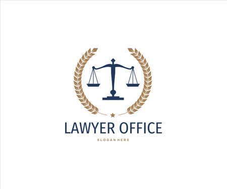 scale of justice inside wheat ear for lawyer office vector logo design Ilustração