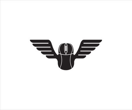 black mouse computer device with a pair of wing in the body for gaming vector logo design template