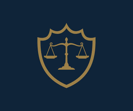 scale of justice a symbol of fair equation inside shield for lawyer office vector logo design template