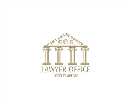 a museum building of justice inside wheat ear for lawyer office vector logo design template Ilustração