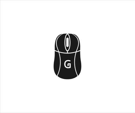black mouse computer device with letter G in the body for gaming vector logo design template Ilustração