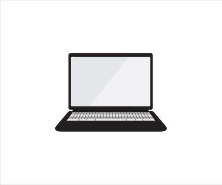 opened laptop computer in front view with blank screen display vector design illustration template Ilustração