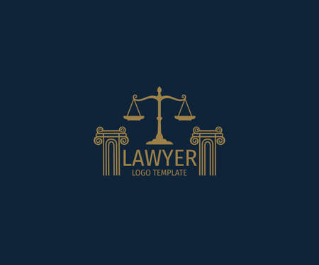 lawyer vector logo design template inspiration with two pillar and scale of justice in the top