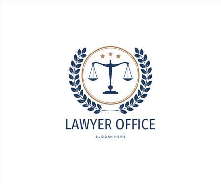 scale of justice inside wheat ear for lawyer office vector logo design template Ilustração
