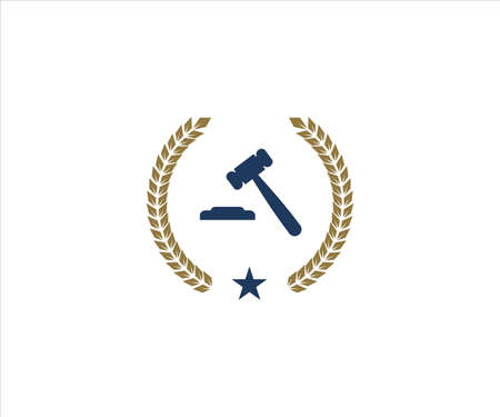 hammer gavel of justice inside wheat ear for lawyer office vector logo design template