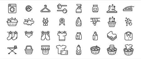 Simple Set of laundry clothes washing clean and dry service Related Vector icon graphic design template. Contains such Icons as hanging clothes, washing machine, ironing and more